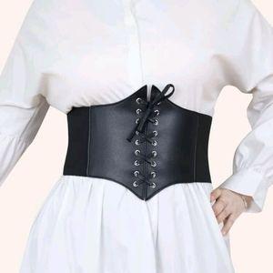 Plus Size Corset Belt Black Lace Up Snap Gothic